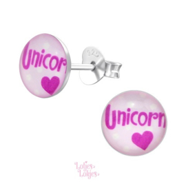 Zilveren kinderoorbellen unicorn (rond)