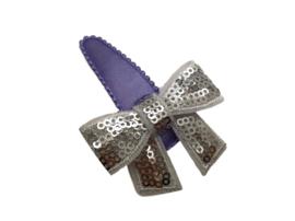 Haarspeldje paars met glitterstrik zilver