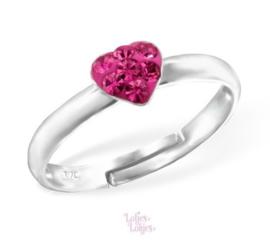 Zilveren kinderring hartje roze | kristal