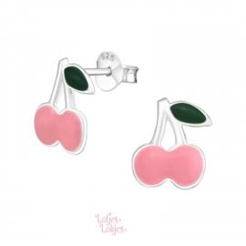 Zilveren kinderoorbellen kersen roze