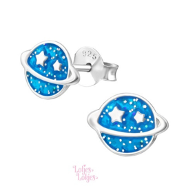 Zilveren kinderoorbellen planeet blauw glitter