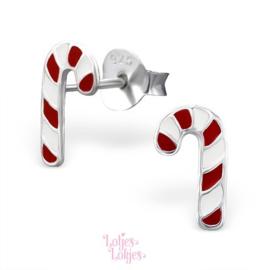 Zilveren kinderoorbellen zuurstok Kerst