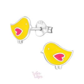 Zilveren kinderoorbellen kuiken roze hartje