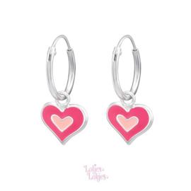 Zilveren kinderoorbellen creolen met hartje roze