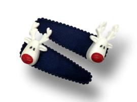 Haarspeldjes donkerblauw met Rudolf