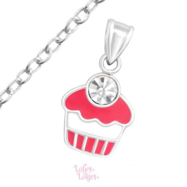 Zilveren kinderketting cupcake