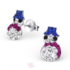 Zilveren kinderoorbellen sneeuwpop | kristal