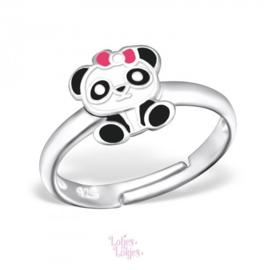 Zilveren kinderring panda met roze strikje