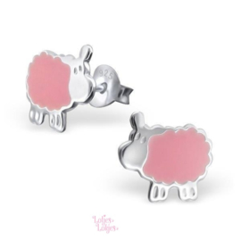 Zilveren kinderoorbellen schaap roze