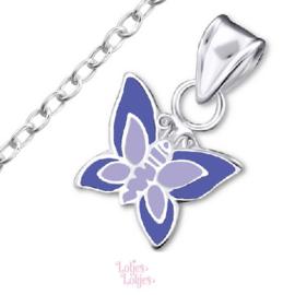 Zilveren kinderketting vlinder paars