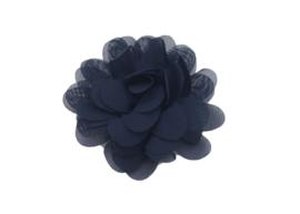 Haarbloem chiffon donkerblauw