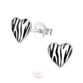 Zilveren kinderoorbellen hartje zebra