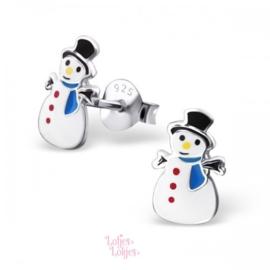 Zilveren kinderoorbellen sneeuwpop met blauwe sjaal
