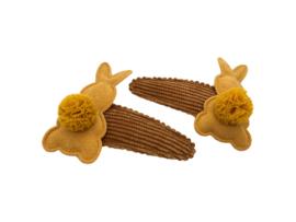 Haarspeldjes rib mosterdgeel met konijntjes