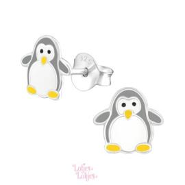 Zilveren kinderoorbellen pinguïn