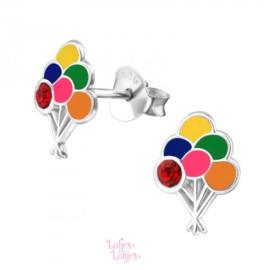 Zilveren kinderoorbellen ballonnen