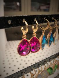 Creolen goud met hanger crystal | robijn-roze
