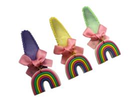 Haarspeldje pastel met regenboog