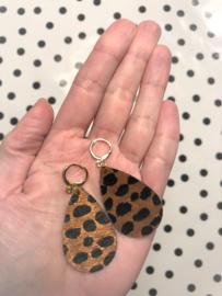 Creolen met hanger suedine cheetah-print