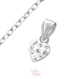 Zilveren kinderketting hartje   kristal
