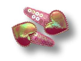 Haarspeldjes roze pailletten met hart