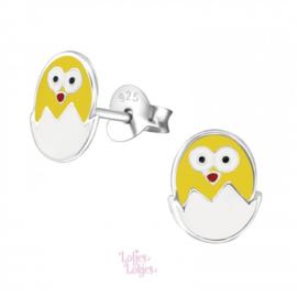 Zilveren kinderoorbellen kuiken uit ei | Pasen