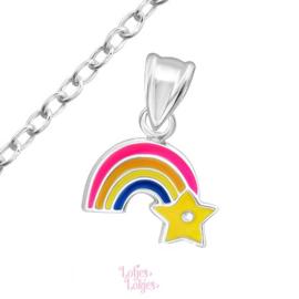 Zilveren kinderketting regenboog met ster