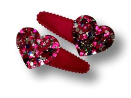 Haarspeldjes roze met hart glitter
