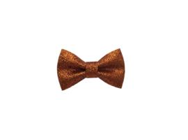 Glitter haarstrikje oranje S | 5 cm