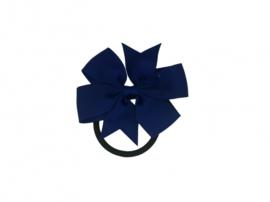 Haarelastiek met grote strik donkerblauw