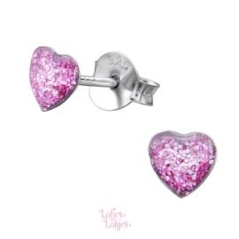 Zilveren kinderoorbellen hartje paars glitter