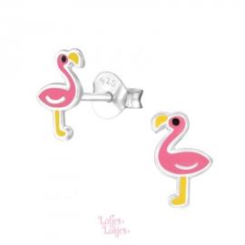 Zilveren kinderoorbellen flamingo geel-roze