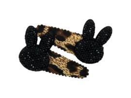 Haarspeldjes panter met konijn zwart-glitter