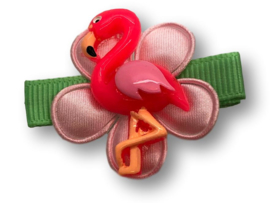 Haarlokspeldje mintgroen met flamingo
