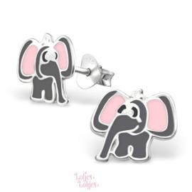 Zilveren kinderoorbellen olifant
