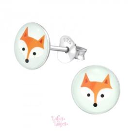 Zilveren kinderoorbellen vos (rond)