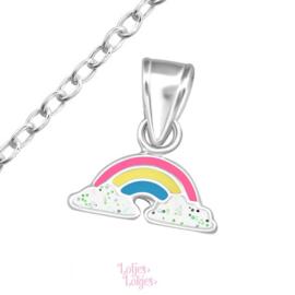 Zilveren kinderketting regenboog pastel