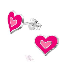 Zilveren kinderoorbellen hart felroze
