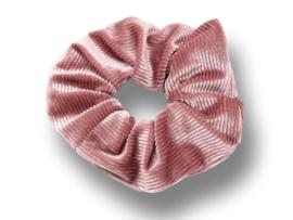 Scrunchie velvet lichtoudroze rib