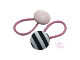 Haarelastiekjes met stofknoop zwart-wit-roze