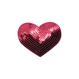 Strijkapplicatie hart pailletten| 8,5 x 7 cm