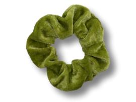 Scrunchie velvet olijfgroen