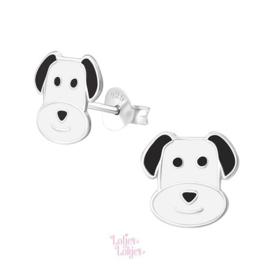 Zilveren kinderoorbellen hond zwart-wit