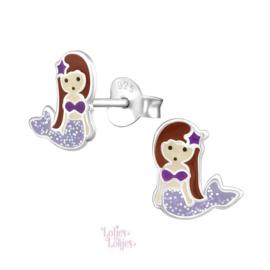 Zilveren kinderoorbellen zeemeermin paars