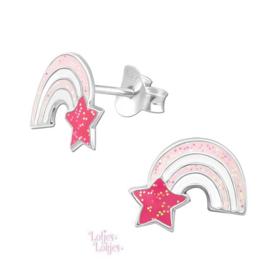 Zilveren kinderoorbellen regenboog roze glitter