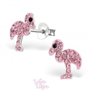 Zilveren kinderoorbellen flamingo roze   kristal
