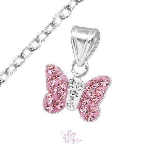 Zilveren kinderketting vlindertje lichtroze| kristal