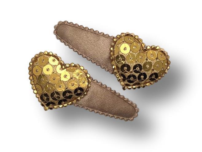 Haarspeldjes champagne met hart pailletten goud