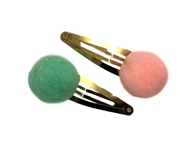 Haarspeldjes goudkleurig met pompom