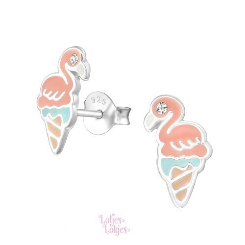 Zilveren kinderoorbellen flamingo ijsje